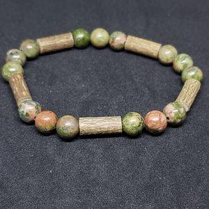 Unakite and hazelwood bracelet